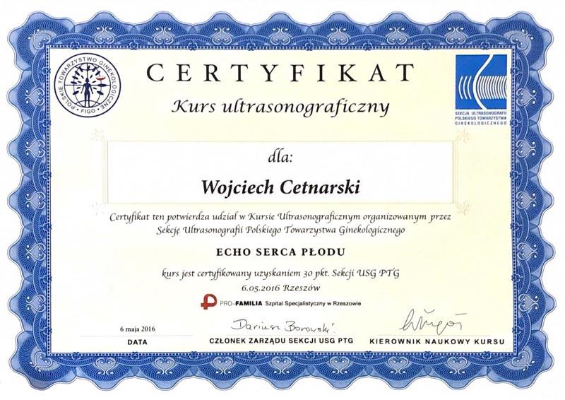 Certyfikat Wojciech Cetnarski