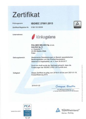 certyfikat Klinika Galena